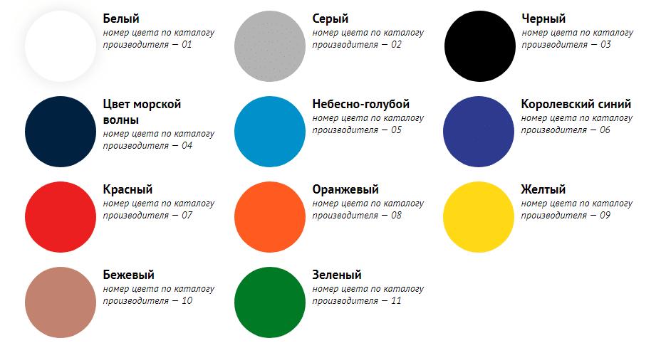 Стандартные цвета при изготовлении герба
